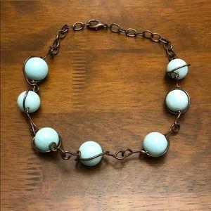 Aqua & brass necklace Anthropologie